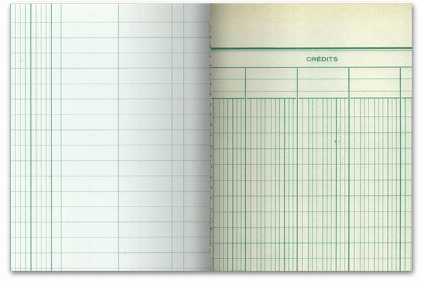 Papeterie éco responsable, papiers recyclés et réemployés, fabriqué en France, Couverture peinte à la main, reliure singer cousue, 92 pages.