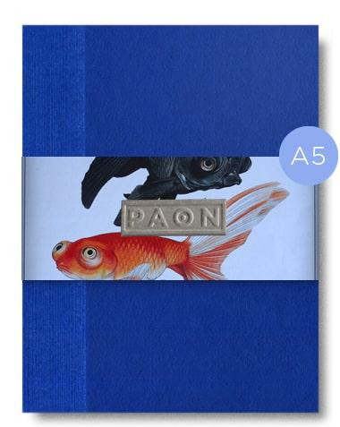 Joli carnet original design éco responsable, couverture peinte à la main, reliure cousue, fabriqué en France, 92 pages, papiers recyclés et réemployés.